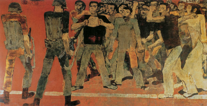 National Defense - Nguyen Sang, 1978, lacquer painting, displayed at the Vietnam Fine Arts Museum