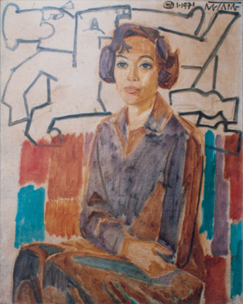 Nguyen Sang - Portrait of Mrs. Don Thu, 1971, oil painting - To Nhu Toan's collection