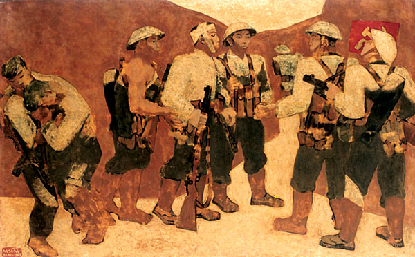 Party Admission Ceremony in Dien Bien Phu, lacquer painting, 1963 – Nguyen Sang, displayed at the Vietnam Fine Arts Museum