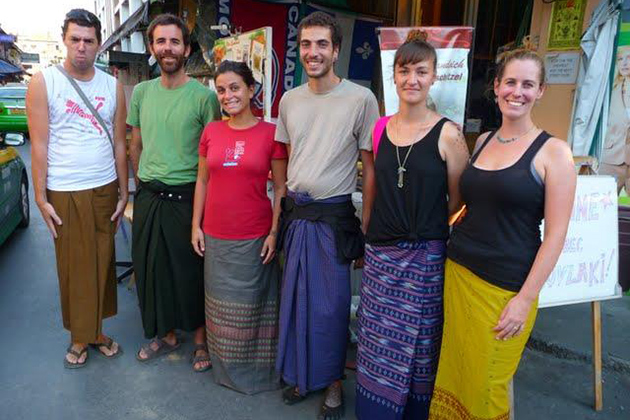 Foreign tourists in Longyi